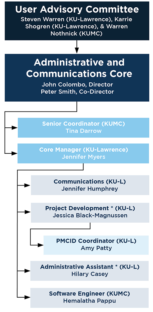 organizational chart for the administrative and communications core